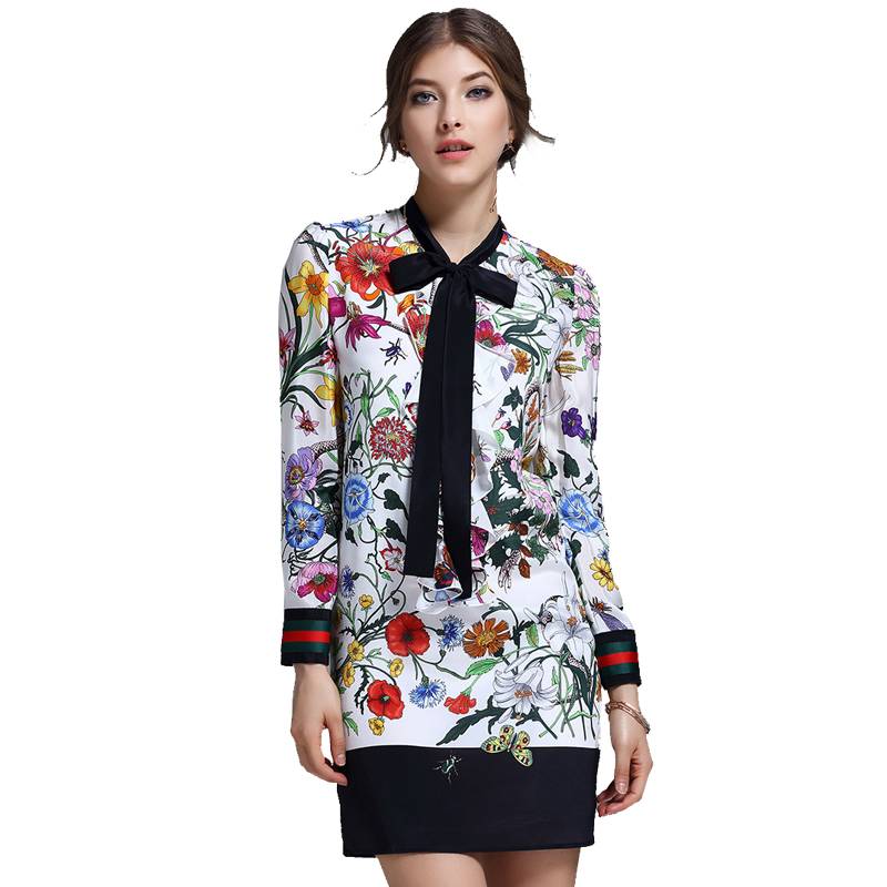 Vestidos De Fiesta Women Dress High Quality 2017 Fashion Spring New Runway Dress Women's Long Sleeve Tie Sexy Casual Printed