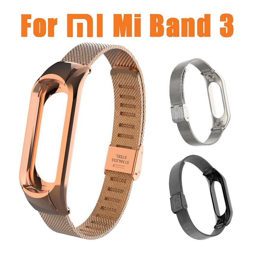 Mi Band 3 Wrist Strap Metal Screwless Stainless Steel For Xiaomi Mi Band 3 Bracelet Miband 3 Wristbands Pulseira Miband3 Strap in Smart Accessories from Consumer Electronics