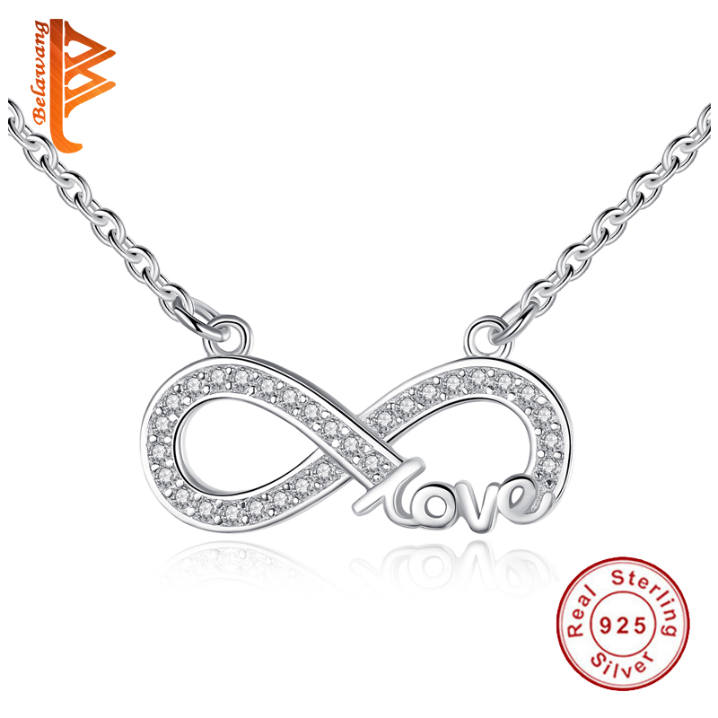 Fashion Real 925 Sterling Silver Forever Love Infinity Pendant Necklace Austrian Crystal Link Chain Necklace for Women Jewelry yoursfs love you forever white gold plated heart in circle pendant necklace with austrian crystal open heart silver necklace wo