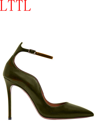 LTTL Brand Office Women Dress Shoes Black Pointed Toe Party Dress Shoes Thin High Heel Sexy Female Single Shoes Buckle Strap