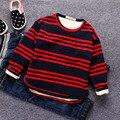 Meninos roupas de bebê listrada grosso além de veludo blusa tops tees crianças T-shirt do menino casaco de inverno para o menino das crianças