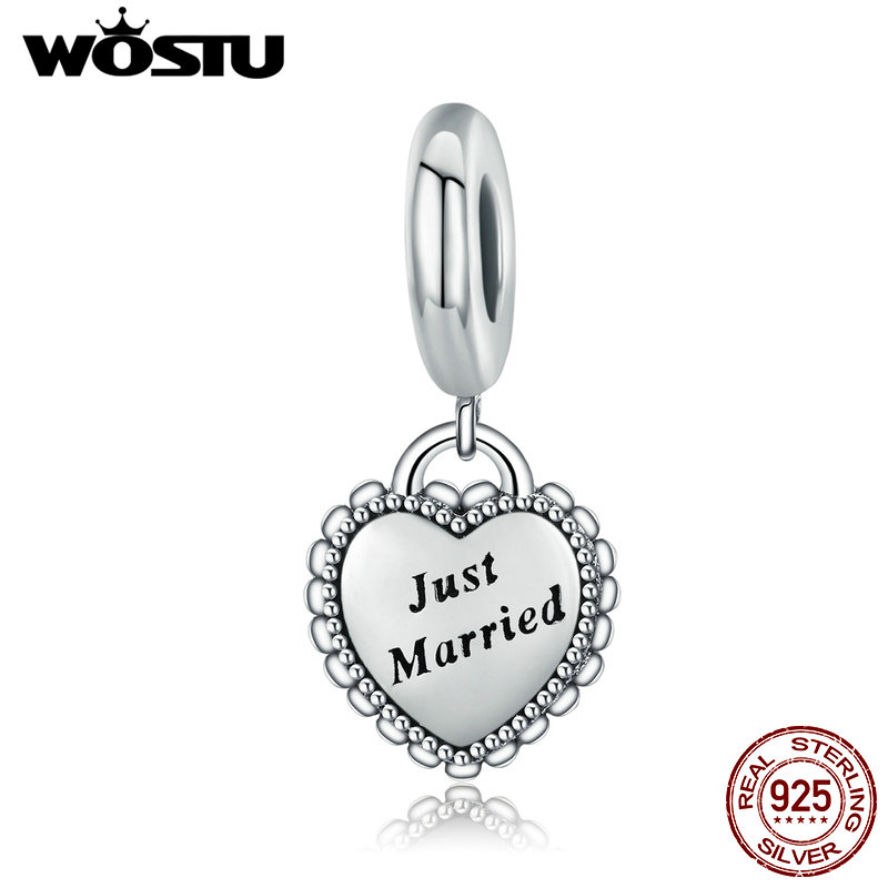 WOSTU 925 Sterling Silver Just Married Heart Dangle Bead Fit Original WST Charm Bracelet Pendant Wedding Jewelry Gift CQC260 wostu hot sale 925 sterling silver radiant pineapple dangle bead fit original wst charm bracelet pendant jewelry gift cqc150