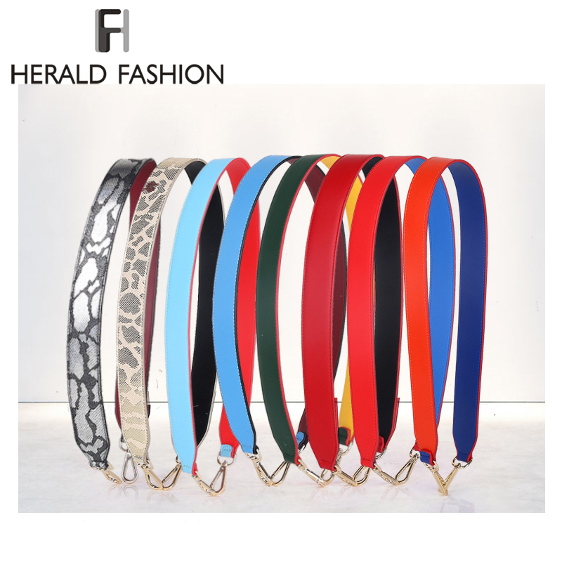 Herald Fashion Quality Leather Handbag Accessories Strap Vintage Wide Panelled Shoulder Straps Women Design Bag Strap Belt
