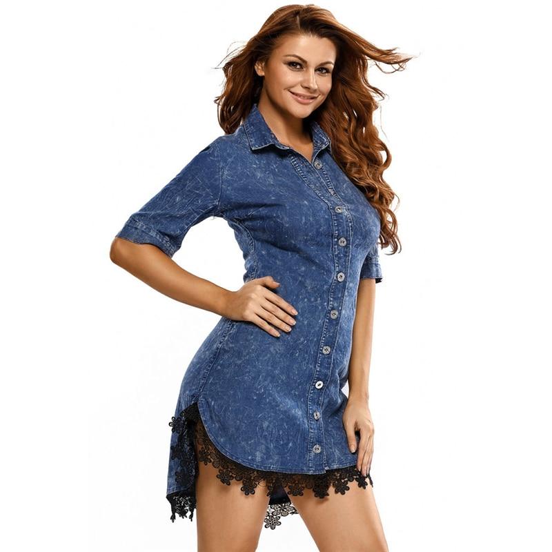 Élégant femmes Jeans robe Style de rue dentelle garniture bouton bas robes mode dames demi manches Denim Slim chemise robe AA51966