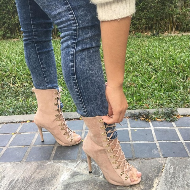 Women's High Quality Gladiator Pointed Toe Strappy Lace Up Pumps