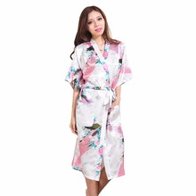 High Quality White Women's Silk Robe Gown Wedding Robe Bride Robe Printed Nightdress pijamas mujer Size S M L XL XXL XXXL(China)