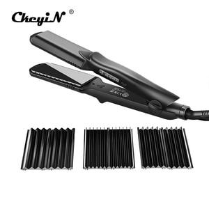 Image 1 - Interchangeable 4 en 1 rapide défriser les cheveux maïs vague plaque électrique pince à cheveux grand à petit onduleur ondulé plat fer 42