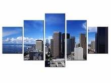 Framde 5 pieces / set of Classic city landscape wall art for decorating home Decorative painting on canvas /XC-city-74