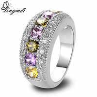 Lingmei nouveau péridot violet blanc CZ argent bague taille 6 7 8 9 10 11 12 13 romantique amour Style bijoux femmes anneaux en gros