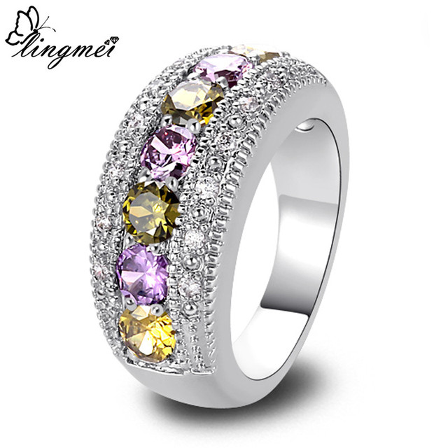 lingmei New Peridot Purple White CZ Silver Ring Size 6 7 8 9 10 11 12 13 Romanti