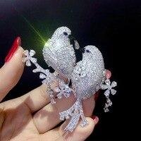 Унисекс брошь 925 серебро с фианитом двойные птицы брошь булавки Модные женские мужские украшения Бесплатная доставка bling