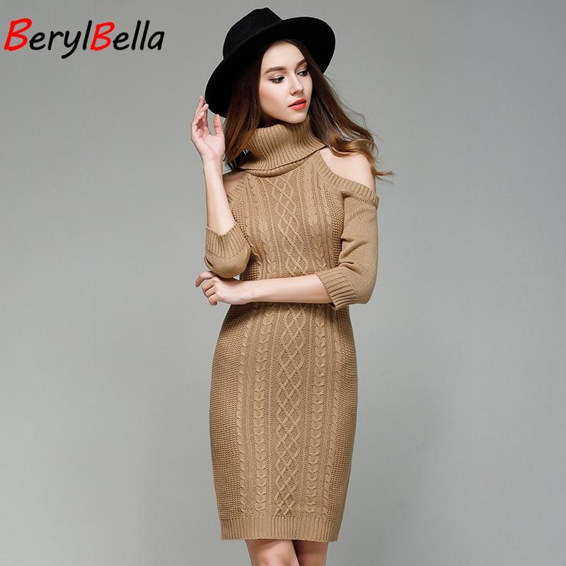 BerylBella Women's Sweater Dress Turtleneck 2018 Summer Slim Knit Strapless Half Sleeve Long Retro Sweater Dress For Women