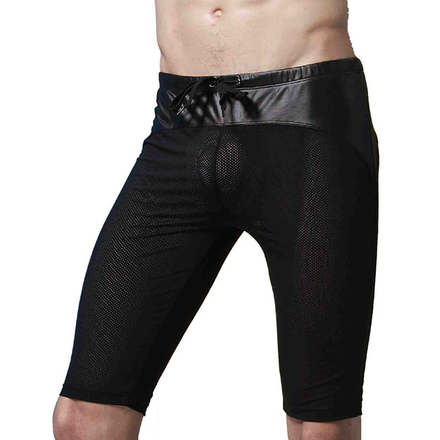 Mesh Breathable Mens Shorts Sexy Black with Faux Leather Patckwork High quality Drawstring Male Short Fashion 2018 Man shorts