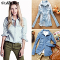 Hot sale European style women denim blouse slim jeans shirt lady's elegant quality blouse 2017 spring fashion denim blouse