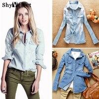 Hot Sale European Style Women Denim Blouse Slim Jeans Shirt Lady S Elegant Quality Blouse 2014