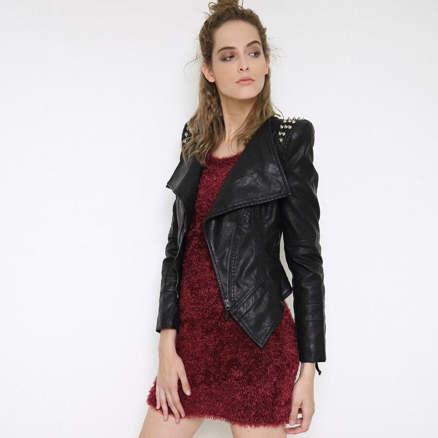 Leather jacket europe - 6xl Europe Autumn New Handsome Rivet Motorcycle Jacket Women Belt Short Slim Ladies Leather Coat Punk