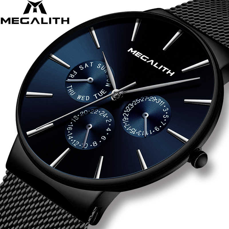 Wholesale Price MEGALITH Watch Mens Sports Waterproof Watches Top Brand Luxury Mesh Strap Chronograph Date Quartz Watch For Men
