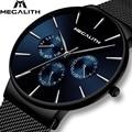 Großhandel Preis MEGALITH Uhr Mens Sport Wasserdichte Uhren Top Marke Luxus Mesh Strap Chronograph Datum Quarzuhr Für Männer