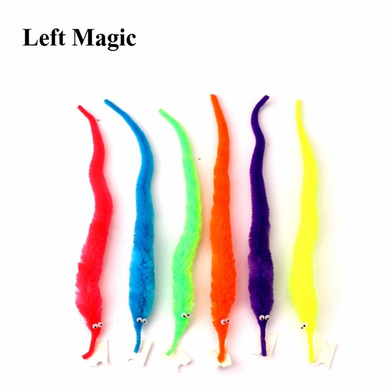 10pcs/Lot Magic Worm Magic Tricks Magic Twisty Fuzzy Worm Wiggle Moving Sea Horse Kids Close-Up Street Comedy Magic Toys