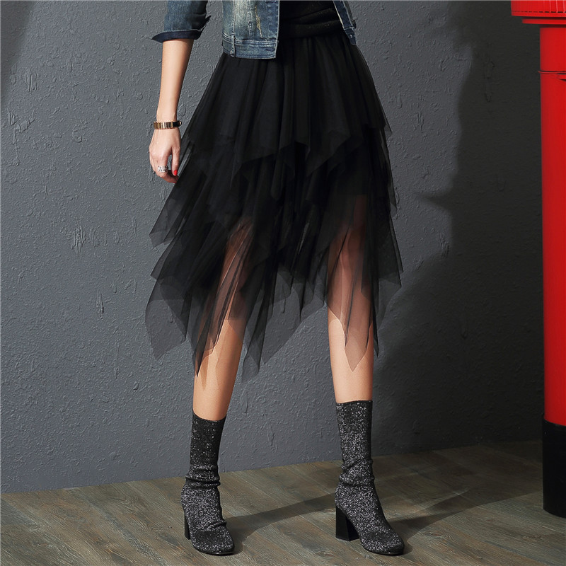 2019 Tulle Skirts Womens Fashion Elastic High Waist Mesh Tutu Maxi Skirt Pleated Long Skirts Midi Skirt Saias Faldas Jupe Femme