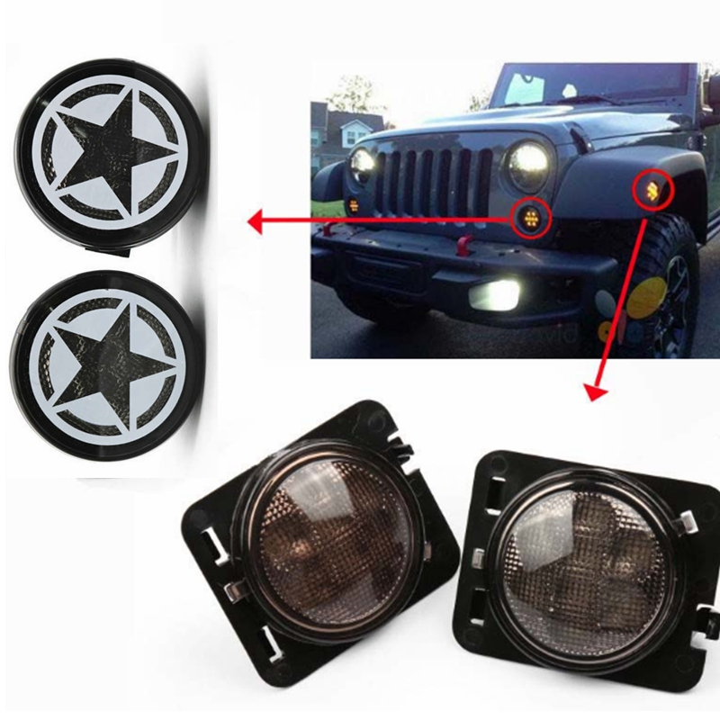 Combo For 2007-2015  For  Jeep Wrangler JK Smoke Lens Amber LED Front Turn Signal Light + Fender Side Marker Parking Lamp 4pcs black led front fender flares turn signal light car led side marker lamp for jeep wrangler jk 2007 2015 amber accessories