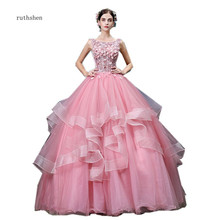 ruthshen Long Puffy Tiered Tulle Quinceanera Dresses