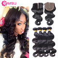 8A Cambodian Virgin Hair Body Wave 3 Bundles with Closure, 4x4 Lace Closure Bleached Knots, Peerless Virgin Hair with Closure