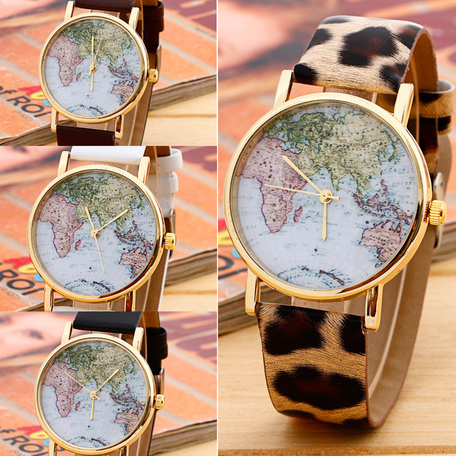1pcs new women men vintage earth world map watch alloy analog quartz leather wrist watches gifts