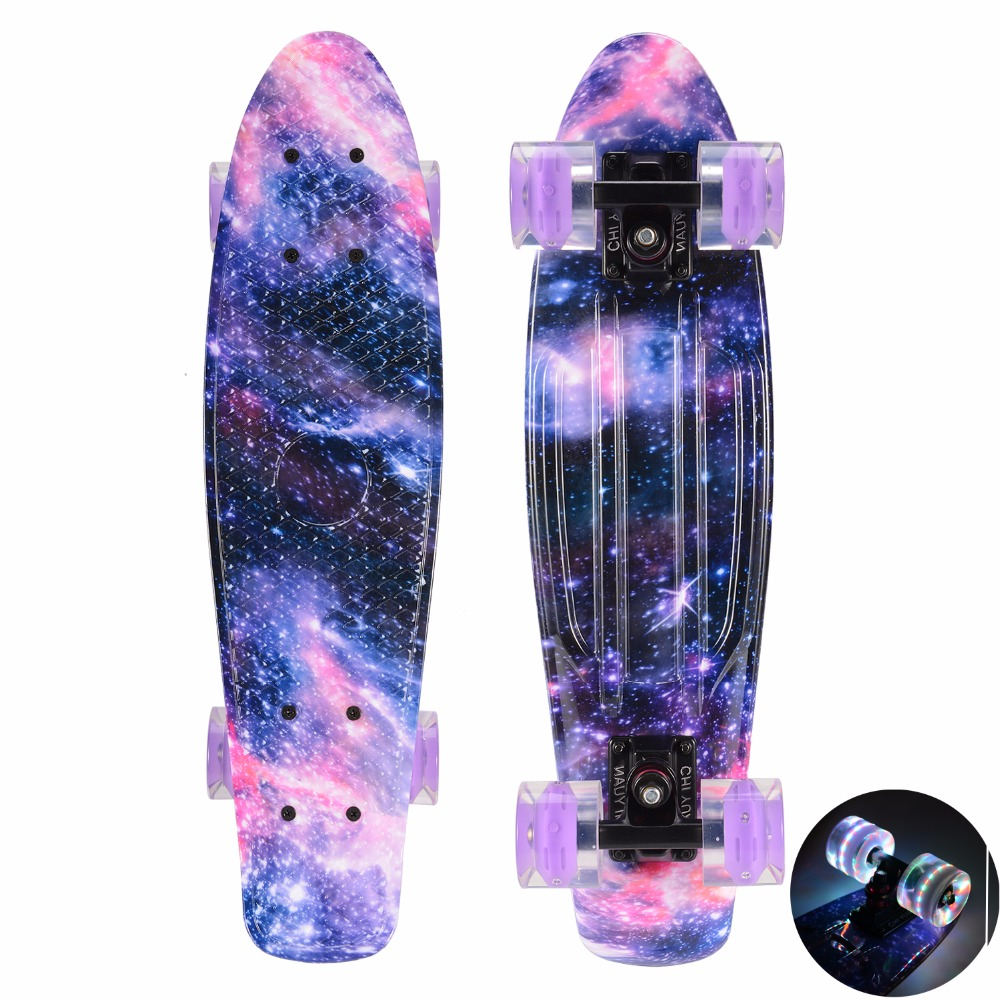 "CHI YUAN 22 Inch Skateboard Cruiser Board  Penny Board 22"" X 6"" Retro Longboard Skate Graphic Galaxy Complete Boy Girl Led Light"