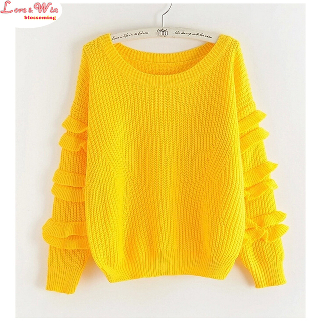 New Ladies Stylish Ruffles Sleeve Leisure Pullovers Sweater Loose Warm Upper Clothes Pull
