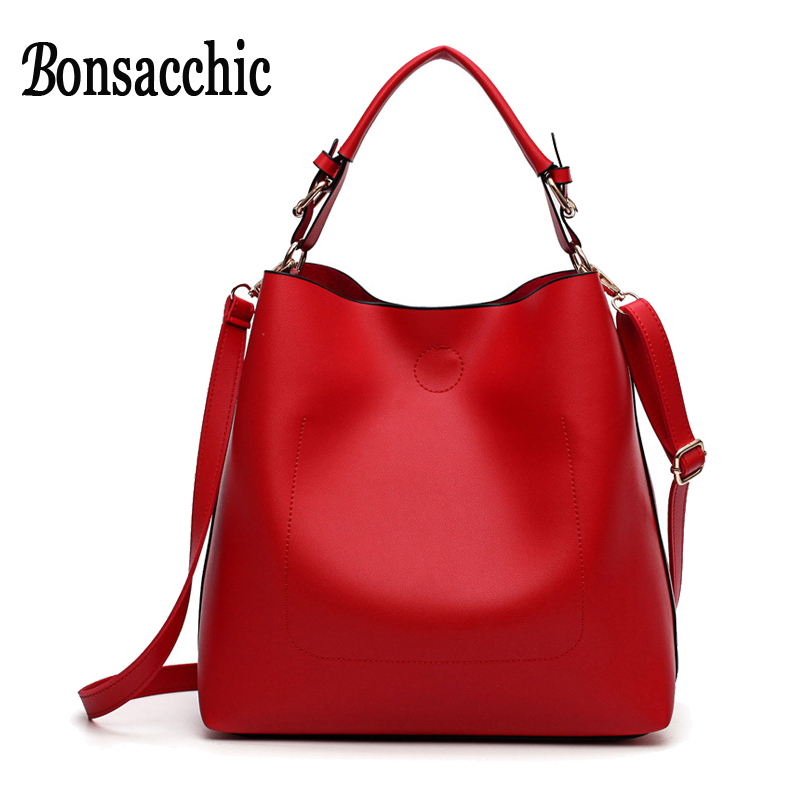 Bonsacchic Red Bucket Bag Women's Handbags Luxury Handbags Women Bags Designer Shoulder Bag Ladies Handbag Sac A Main Femme