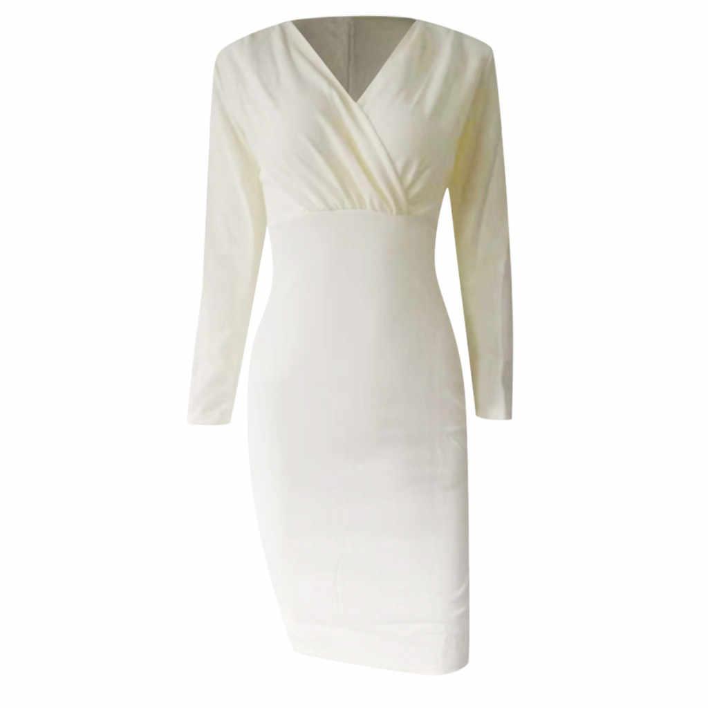 JAYCOSIN ชุดสตรีฤดูใบไม้ร่วง 2019 เซ็กซี่ขายแขนยาวลึก V คอ Fit Work Office ชุด robe vestido 9720