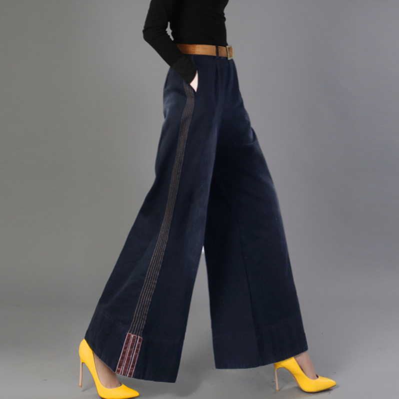 LANMREM 2020 Summer New Tencel Denim  Leg Pants Female  Thin Section Large Size Straight Trousers Leisure Length Pants QH989