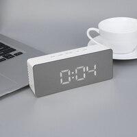 LED Alarm Clock Multifunction Digital Electronic LED Mirror Clock Temperature Snooze Large Display Home Decor