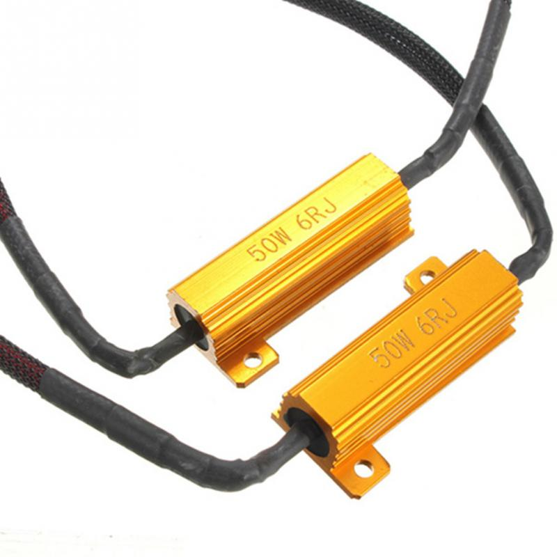 2Pcs 50W 6RJ H7 Headlight Load Resistor LED Canbus Car Fog Lamps Decoder Error Warning Resistance 2pcs lot 80 watt led xenon blanc h7 led 80w canbus 80 watt viel heller wie 60w 50w 55w anti brouillard auto car fog led