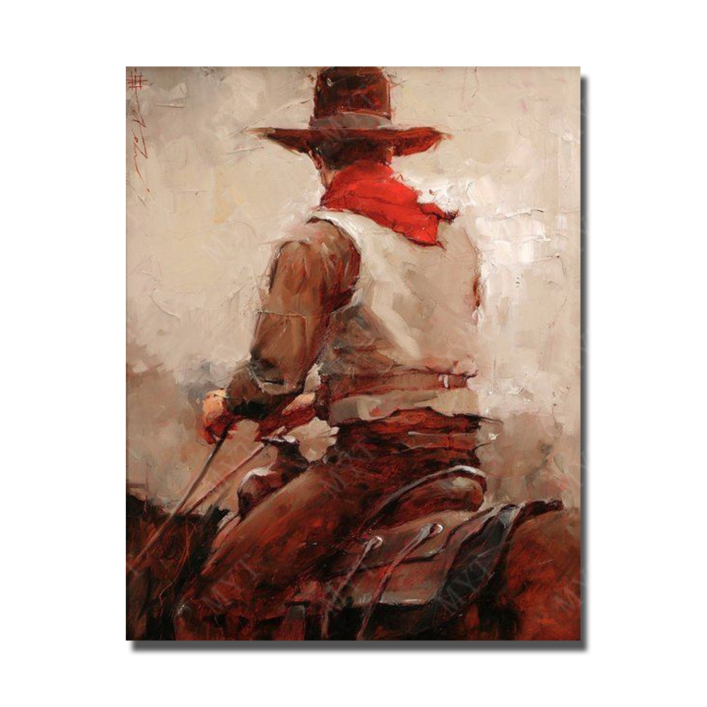 Handmade canvs painting wall art western cowboy pictures riding horses large wallpictures for living room