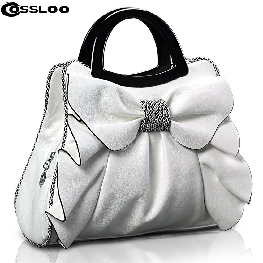COSSLOO Designer Women Leather Handbags Ruched Flowers Dot Bow Women Bags Shoulder Bag Messenger Purses Bolsas  Hand Bag Tote канцелярская коррекционная лента other 5sets 5 ywwt 150304