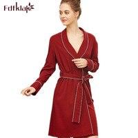 Fdfklak High grade cotton robe women bridesmaid robes long sleeve spring autumn robes ladies loose bath robe dressing gown