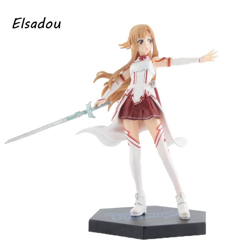 Elsadou 16cm Sword Art Online 3 Asuna Action Figure Toy Doll anime sao sword art online asuna yuuki 8 pvc cute figure statue