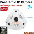3.0 Megapixel HD panoramic IP camera with 360 Degrees fisheye lens ir Night Vision home security camera wifi P2P remote monitor