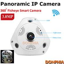 3.0 Mégapixels HD IP panoramique caméra avec 360 Degrés fisheye lentille ir Nuit Vision sécurité à la maison caméra wifi P2P à distance moniteur