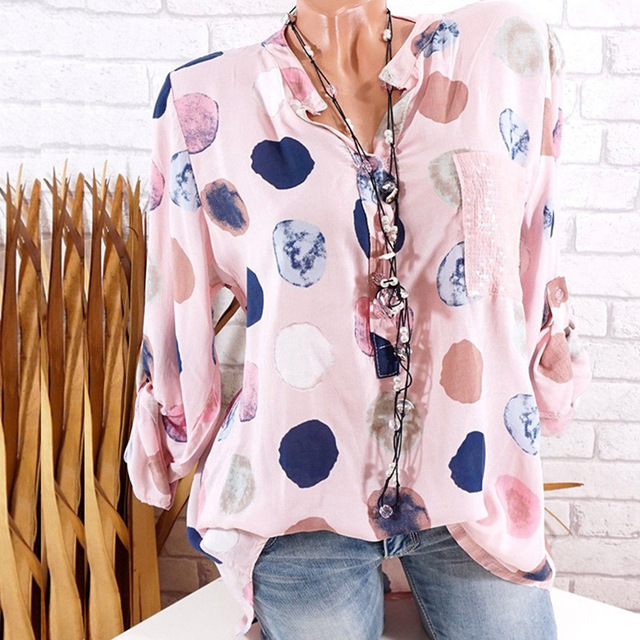 Women Loose Top Ladies Dot Digital Printing Sequin Pocket Shirts Cotton Casual Long Sleeve Sexy Shirts Plus Size Blouse
