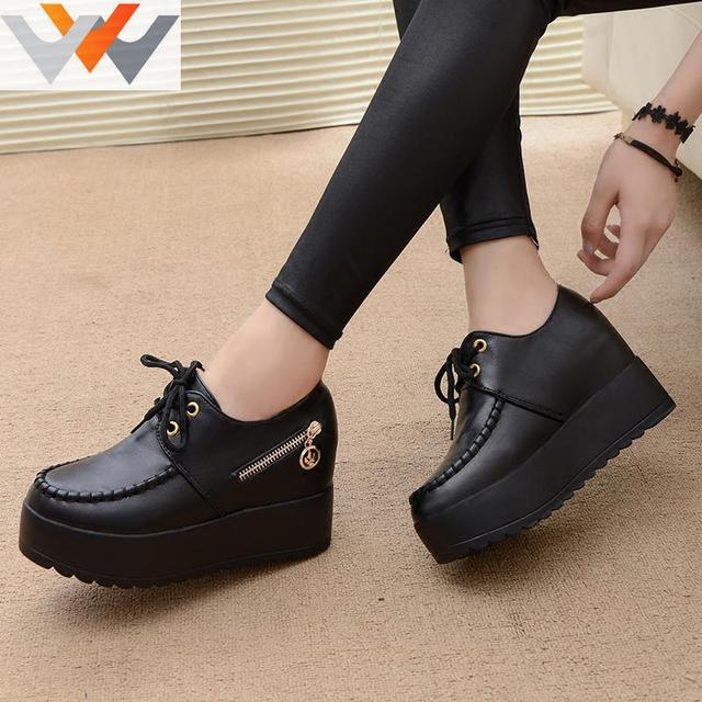 2016 New Black White Hidden Wedge Heels Fashion Women's Elevator Shoes PU Casual Shoes For Women Wedge heel Platform shoes