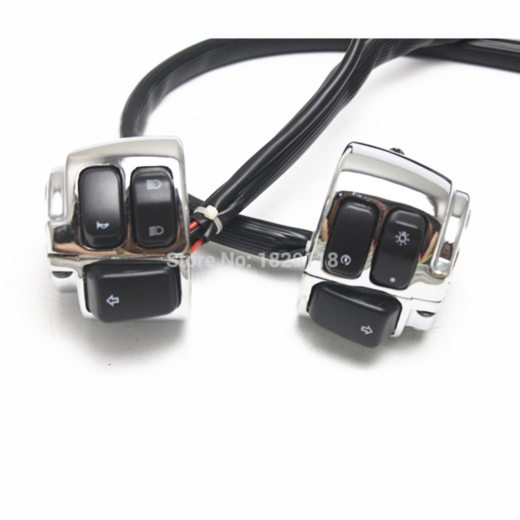 2x Motorcycle Handlebar Control Switch Wiring Harness For Harley ...