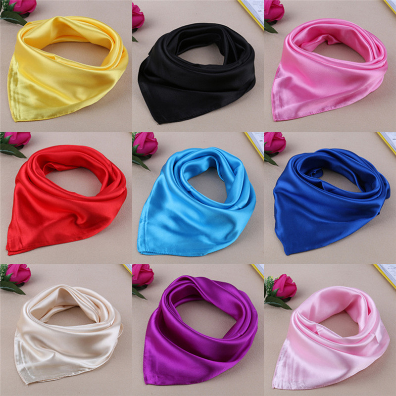 New Best Selling Solid Color Small Square Satin Artifical Silk Scarf For Ladies Women's Scarves Handkerchief 60*60cm