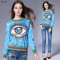 Euro USA High Quality Pretty Eyes Printed Knit Sweater Women S Fashion Long Sleeve Loose Pullover
