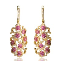 Blucome Luxury Flower Leaf Tiny Simulated Diamond Drop Long Earrings For Women Full Crystals CZ Zircon