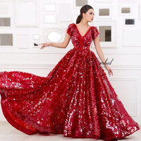 PEORCHID 2018 Arabic Sequin Red Evening Dress With Cap Sleeves Women Elegant Abendkleid Langarm Dubai Party Dress Evening Gown
