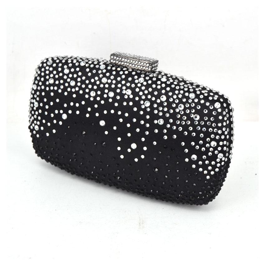 ef54607ce0c2 Women s Black Satin silver Diamond Pillow Evening Clutch Bags Female ...