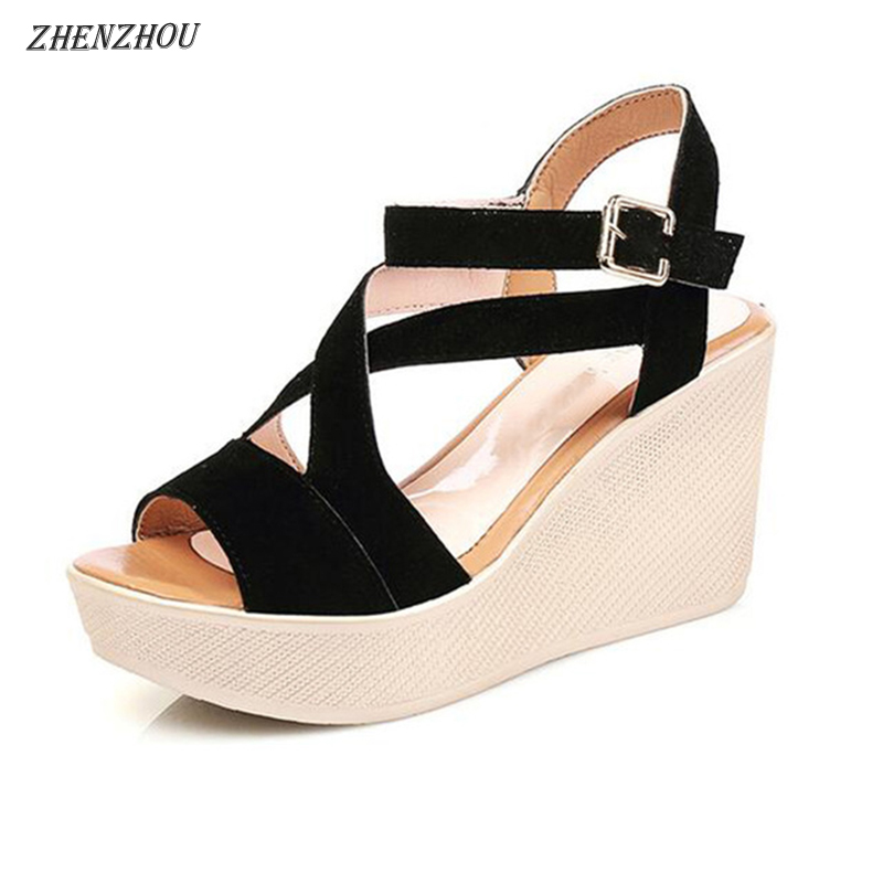 ZHENZHOU women Sandals 2018 summer wedge High heels Sponge bottom of the thick Waterproof platform for student women's shoes цена